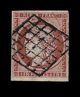 O N°7a - 1F Vermillon Vif - Obl. Grille - Jolie Nuance - TB - Certificat Calves + Signature - 1849-1850 Ceres