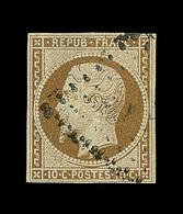 O N°9 - 10c Bistre - Signé A. Brun - TB - 1852 Louis-Napoleon