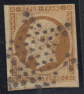 O N°9d - 10c Brun Foncé - Obl. Étoile Muette - 1 Voisin - Filet Sup En Biseau - 1852 Louis-Napoleon