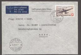 1944  25è Ann. Poste Aérienne Suisse Vol Spécial Zurich - Genève  Zum 40  MiNr 438 - Poste Aérienne