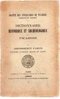 Canton D'AMIENS,BOVES Et CONTY. Dictionnaire Historique Et Archéologique De La PICARDIE.tome Premier.437 Pages.1909 - Picardie - Nord-Pas-de-Calais