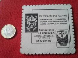 ANTIGUO POSAVASOS OLD COASTER RESTAURANTE LA LECHUZA POLYNESIAN BAR WAHINE MADRID SPAIN ESPAÑA ESPAGNE BUHO O SIMIL OWL - Portavasos