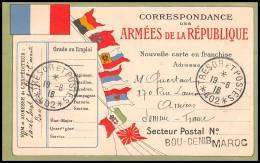 4398 Carte Postale Franchise Militaire - France Guerre War 1914/1918 Secteur Postal N°402 Maroc 1916 - Marcophilie (Lettres)