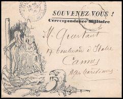 1703 Lettre Carte En Franchise Militaire Guerre 1914/1918 Lettre Décorée Souvenez Vous Mallemoisson Ambulant - Marcophilie (Lettres)