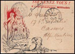 1702 Lettre Carte En Franchise Militaire Guerre 1914/1918 Lettre Décorée Souvenez Vous Mallemoisson - Marcophilie (Lettres)