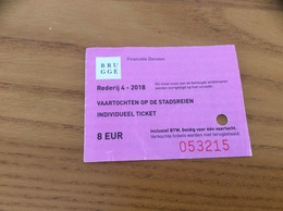 "Ticket De Transport (bateau) ""BRUGGE - VAARTOCHTEN OP DE STADSREIEN"" Belgique - Billets D'embarquement De Bateau"