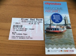 "Ticket De Transport * (bateau) + Plan ""River Red Rover - London Pass 2018"" Angleterre (Tamise) - Billets D'embarquement De Bateau"