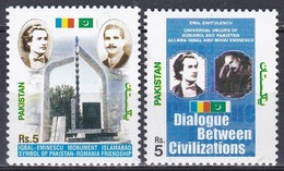 Pakistan 2005 Diplomatie Diplomacy Persönlichkeiten Literatur Dichter Literary Iqbal Eminescu Ghitulescu, Mi. 1238-9 ** - Pakistan