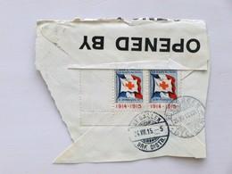 """FRANCE - 1914-1915, Bloc De 2 Vignettes """"AUX BLESSÉS MILITAIRES"""" Sur Fragm. De Lettre Pour La SUISSE (ST.GALLEN) - Censu - Commemorative Labels"""