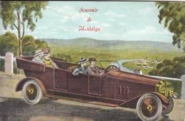 """MONTAIGU  """" Rare Carte """" Souvenir De Montaigu  - Carte Mecanique Avec Petites Vues - Complet - Thematique Auto - Scherpenheuvel-Zichem"""