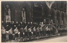 "Courtrai ,Kortrijk ,fotokaart ,hotel De Ville,stadhuis ,scout , "" Boy-scout ""11-7-1952 - Scoutisme"