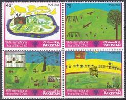 Pakistan 1979 Organisationen UNO ONU UNICEF Kinder Children Jahr Des Kindes Kinderzeichnungen, Mi. 496-9 ** - Pakistan