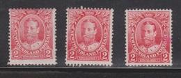 NEWFOUNDLAND Scott # 105 MH X 3 - KGV - 1 Stamp Has Small Ink Stain - Newfoundland