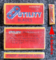 Ancienne Boîte De Lames De Rasoir, UTILITY Blades Blue 5 Lames Sous Cellophane (USA Ou UK ?) - Razor Blades