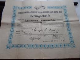 GETUIGSCHRIFT Automekanieker / Metteur Au Point - St. NIKLAAS Anno 1936 ( SMET Theophiel KEMSEKE ) ! - Voitures