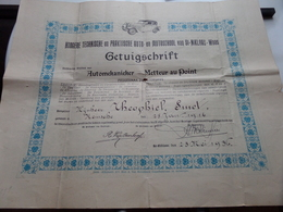 GETUIGSCHRIFT Automekanieker / Metteur Au Point - St. NIKLAAS Anno 1936 ( SMET Theophiel KEMSEKE ) ! - Cars