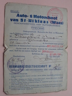 Bekwaamheidsgetuigschrift AUTO- & MOTOSCHOOL - St. NIKLAAS Anno 1936 ( SMET Theophiel KEMSEKE ) ! - Cars