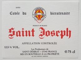 Etiquette Ancienne - SAINT JOSEPH -Cuvée Du Bicentenaire 1983 ANNONAY -Saint-Désirat (Ardèche) Montgolfière Ballon /ET10 - Sonstige