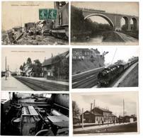 42 CP Lot N°57, Très Varié,dont Trains: Accident De COUTRAS+4 Autres Trains & Gares+ Villes Ou Villages+ Divers - Cartes Postales