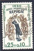 """EVENEMENTS - 1960:25c+10c Brun-olive """"Année Mondiale Du Réfugié""""  N° 1253 Obl - Oblitérés"""