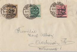 DR Brief Mif Minr.283,290,291 Karlsruhe 30.9.23 - Briefe U. Dokumente