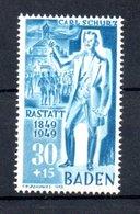 Baden   / N 55 / 30p + 15 P Bleu  / NEUF Avec Trace De Charnière - Bade