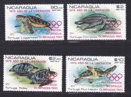 NICARAGUA AERIENS N°  943 à 946 ** MNH Neufs, Surchargés Rouge, TB (D7423) JO Moscou, Faune, Tortues Marines - Nicaragua