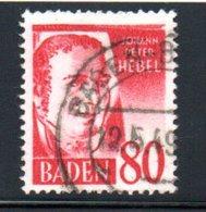 Baden   / N 36/  80 Pf Rouge / Oblitéré - Baden
