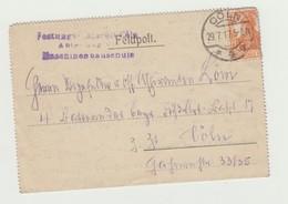 FELDPOST - POSTA MILITARE TEDESCA VIAGGIATA 1917 VERSO COLONIA - GERMAN MILITARY POST - 1914-18