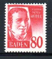 Baden   / N 36/  80 Pf Rouge / NEUF Avec Trace De Charnière - Baden