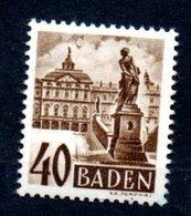 Baden   / N 35 /  40 Pf Sépia / NEUF Avec Trace De Charnière - Baden