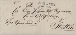 Preussen Brief L2 Schwedt 18.11. Gel. Nach Stettin - Preussen