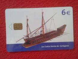 ANTIGUA TARJETA TELEFÓNICA PHONE CARD MUSEO NAVAL ESPAÑA SPAIN BARCO SHIP GALEOTA LOS CUATRO SANTOS DE CARTAGENA VER FOT - Espagne