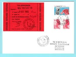 Fr28 Vignette  Postelec  Téléphoner 8.10.1987 Rennes R.P. - Marcofilia (sobres)