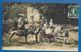 92 - ROBINSON - UN ARRET DANS LES BOIS  - PETITE CHARRETTE À ÂNE ET ÂNES MONTÉS - CPA TOILÉE - 1908 - Le Plessis Robinson