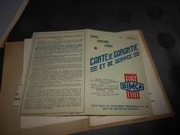 109 -  Carte De Garantie Et De Service, SIMCA Licence FIAT,  Voiture Simca 5 , 19-7-1938 - Voitures
