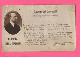 Gabriele D'Annunzio Cpa Canzone Dei Dardanelli Viaggiata - Escritores