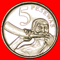 # HORN: GHANA★ 5 PESEWAS 2007 UNC MINT LUSTER! LOW START ★ NO RESERVE! - Ghana