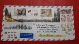 La Russie Un Enveloppe Circulé En Argentine Avec Bloc De Faune - 1992-.... Föderation