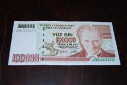 1996 Türkei 100,000  Lira  / 7. Emisyon 3. Tertip Serie : J  / UNC - Turquie