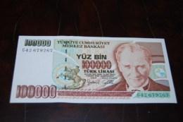 1996 Türkei 100,000  Lira  / 7. Emisyon 3. Tertip Serie : G  / UNC - Turquie