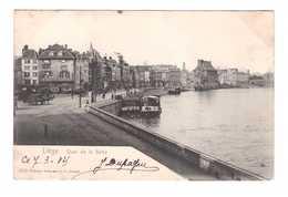 Belgique Liege Quai De La Batte Cpa Carte Animation Timbre + Cachet 1904 - Lüttich