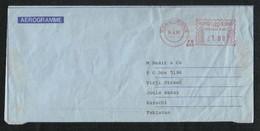 Hong Kong China Meter Mark Air Mail Postal Used Aerogramme Cover  HongKong To Pakistan - Hong Kong (1997-...)