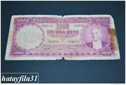 1953 Türkei - 1000 Lira /  5. Emisyon 1. Tertip - Serie  C 1  - Gebraucht , Geld Auf Dem Foto  Bekammen Sie - Turkey