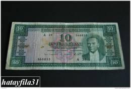 1952 Türkei - 10 Lira /  5. Emisyon 1. Tertip - Serie  A 29 - Gebraucht , Geld Auf Dem Foto  Bekammen Sie - Turkey