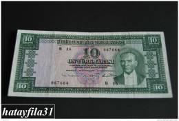 1952 Türkei - 10 Lira /  5. Emisyon 1. Tertip - Serie  B 36 - Gebraucht , Geld Auf Dem Foto  Bekammen Sie - Turkey