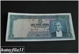 1965 Türkei - 5 Lira /  5. Emisyon 4. Tertip - Serie  I 28 - Gebraucht , Geld Auf Dem Foto  Bekammen Sie - Turkey