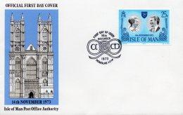 IOM 1973 Royal Wedding FDC AS SCAN - Isle Of Man