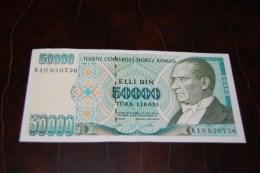 1995 Türkei 50,000  Lira  / 7. Emisyon 2. Tertip Serie : K  / UNC - Turquie