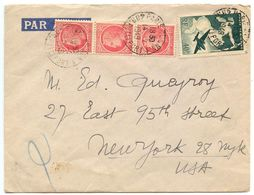France 1949 Airmail Cover Paris To New York NY, Scott 532 X 3, C18 - Airmail